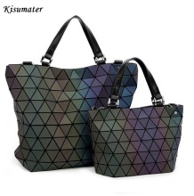 2017 Women Geometry Sequins Mirror  Plain Folding Bags Luminous Bag  PU Casual totes female handbag  Famous Logo Bag