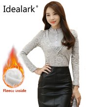 Idealark Plus Size Women Tops Chemise Blouses & Shirts Gray White Black Crochet Lace Elegant Blouse Women's Shirt LU0019(China)