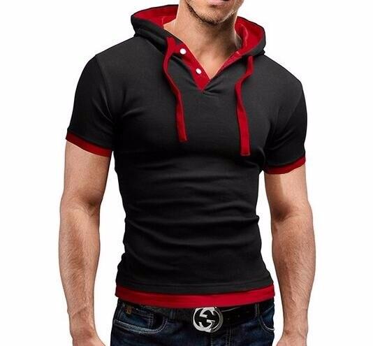 HTB1TxlKLVXXXXcQXFXXq6xXFXXXz - Men'S T Shirt 2017 Summer Fashion Hooded Sling Short-Sleeved Tees Male Camisa Masculina T-Shirt Slim Male Tops 4XL