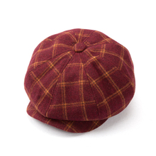 Sell Octagon Aritist Caps Hats Wool Cotton Blended Hat Check Plaid All Season Hat Cap Free Shipping(China)