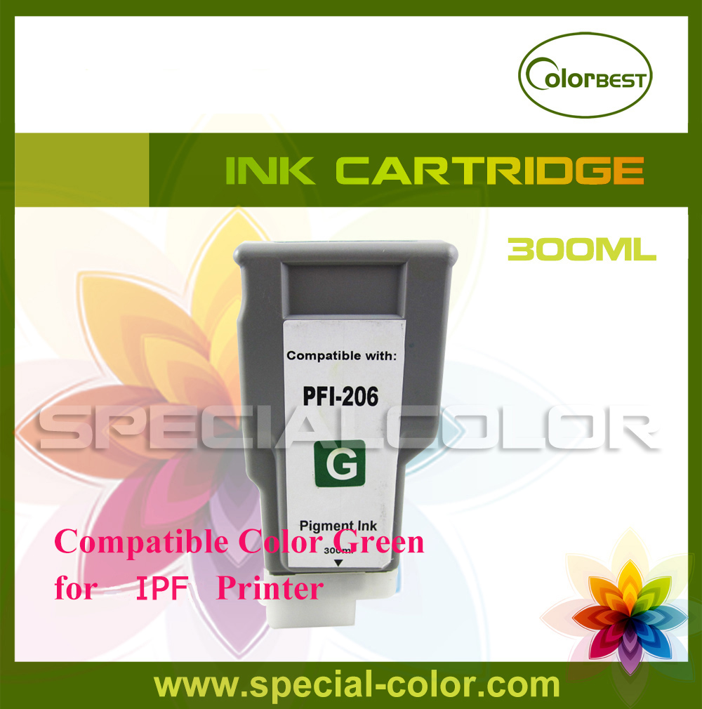 Color G for Lucia IPF6400/6450 Pigment Ink Cartridge without Chip PFI-206 Printing Ink 300ml<br>