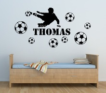 Customer-made Football Player Kids Personalized Any Name Bedroom Wall decal decoration Art Mural Decal Sticker-You Choose Name(China)