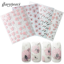 12 Pieces/set Beauty Women Nail Makeup Pink Blooming Flower 3D Embossed Nail Art Sticker World Carved Manicure Decal Latest 2018(China)