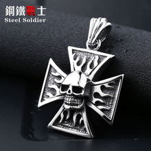 steel soldier Factory one piece Jewelry Biker Iron Flame Cross Skull Pendant Necklace Titanium Men jewelry(China)