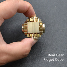 New Metal Brass Real gear Fidget Cube linkage decompression cube crazy EDC hand spinner R188 Bearing Spin about 2 minutes JTW84