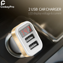 CinkeyPro Car Charger LCE Screen 2-Ports USB Charger 2.1A Car-Charger Mobile Phone Universal For iPhone Samsung Charging