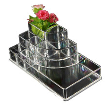 Acrylic Cosmetic Organizer Lipstick Holder Display Stand Clear Makeup Case makeup organizer organizador Storage Container(China)