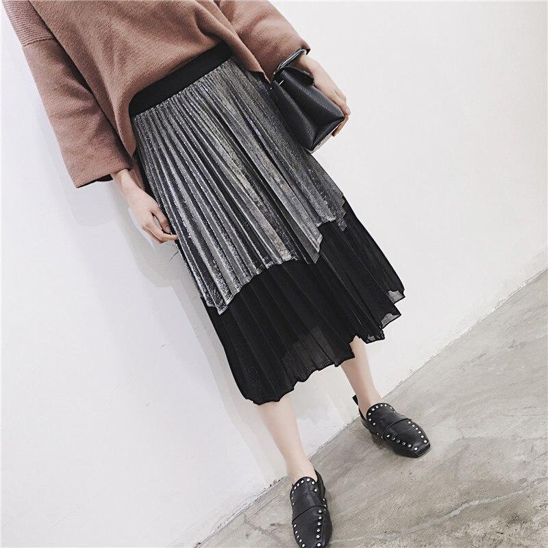 [GUTU] Autumn Summer 2018 Korean New Fashion Patchwork Color Bottoms All-match Elastic Waist Pleated Skirt Loose Women F89201 45