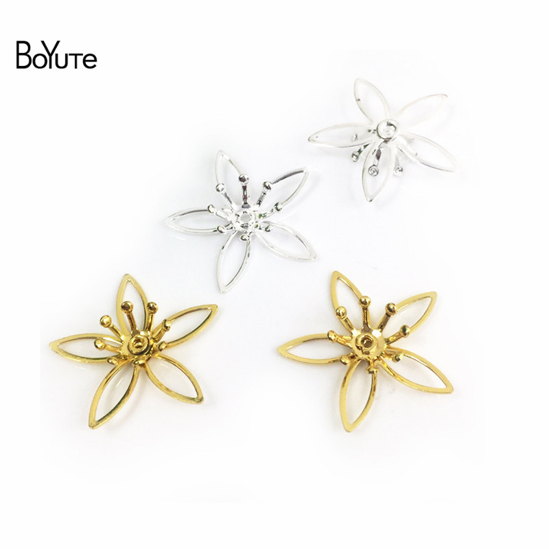 BoYuTe 50Pcs Metal Brass Stamping Filigree Flower Accessories Parts for Bridal Hair Jewelry Making (2)