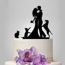 Acrylic Couple With 1 Dog and 2 Cats Wedding Cake Topper/Wedding Stand/Wedding Decoration Wedding Cake Accessories Casamento