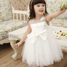 2016 New Fashion Sleeveless Little Girl Formal Dress with Bow  Children Ball Gown Party Dress White Kids Princess Dress Costume
