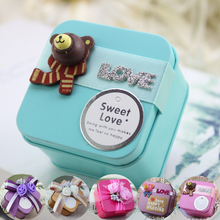8 pcs/lot Metal Candy Box for Wedding,Small Tin Storage Box with Cartoon Bear Flower Decoration,Birthday Gift Party Candy Boxes