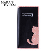 Mara's Dream 2017 New Women Wallets Long Section Female Cute Cat Hit Color Wave Point Zipper Wallet Student Purse(China)
