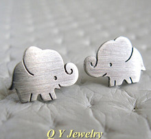 New Summer Style Hippie Chic Cute Big Ear Elephant Stud Earrings Punk Silver Pendientes Statement CC Earrings For Women Jewelry(China)