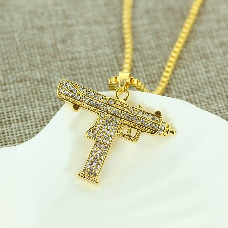 Fashion-Golden-Silver-Color-Uzi-Gun-Pendant-Necklace-Men-Alloy-Full-Bling-Submachine-Gun-24inch-long