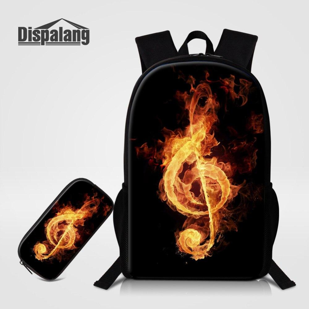 Dispalang 2 Pcs/set Women Men Backpack Musical Note Print School Bags For Teenagers Book Bag Hot Schoolbag Kids Pen Pencil Case<br>