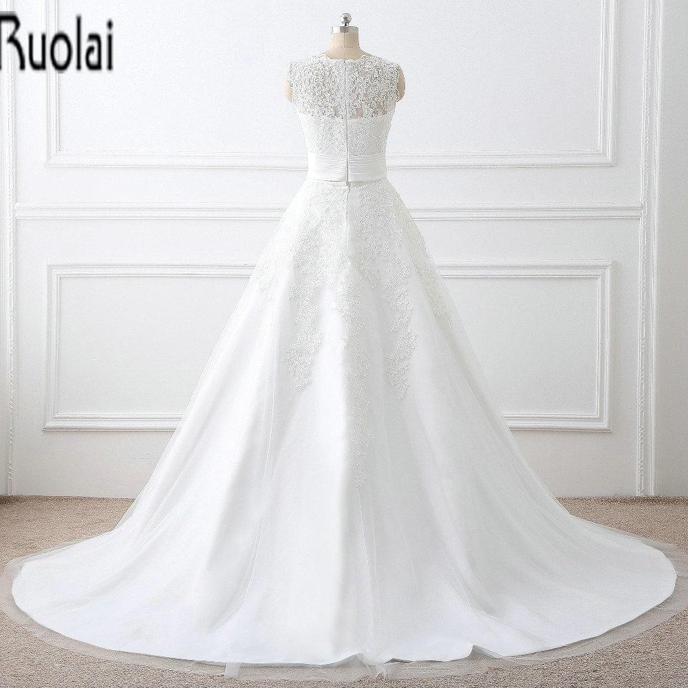 2017 Dalam Saham Baru Kedatangan Elegant Lace Appliques Wedding Dresses  O-Neck Tanpa Lengan Gaun Pengantin Dengan Rok Dilepas.  HTB1LZ0iSVXXXXaRXVXXq6xXFXXXL b4dab0983678