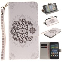 Strange White Flower Pattern Faux Leather Flip Case with Mount Stand for Huawei P8 Lite