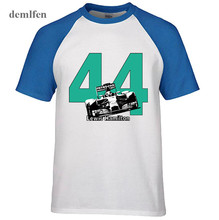 New Lewis Hamilton 44 F1 Race Car T-Shirt World Champion Formula 1 Brit Silverstone Men Cotton Raglan Sleeve T shirt Top Tees(China)