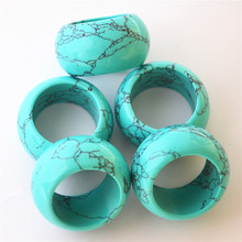 Gazelle 10pcs Wholesale Natural Stone Smooth Turquoises Howlite Fashion Finger Ring Jewelry For Women Men 15MM 17# 18# 20# 22#