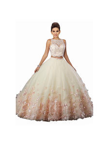 Prom-Dresses Swe Quinceanera Two-Pieces Lace New 3D Neck Red Fashion Cheap Bead Flowers