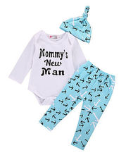 2016 baby Boy girls clothes letter Pattern Romper + pants+hat  3pcs suit newborn baby boy girl clothing set