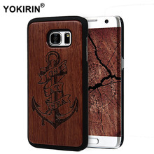 Retro Bamboo Traditional Sculpture Wood Back Wooden Phone Case For Samsung Galaxy S7 / S7 Edge Fashion Patterns Hard Phone Cover(China)