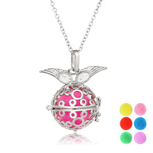 LUOTY Hollow Angel Elf Silver Jewelry Circle Style Cute Fragrance Choker Necklace For Kid Girl