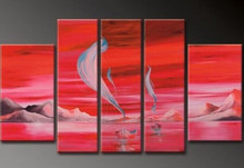 100% Hand Painted Canvas Oil Paintings Acrylic Abstract Seascape Red Painting Modern Home Decor Wall Art 5 Panel Pictures Poster