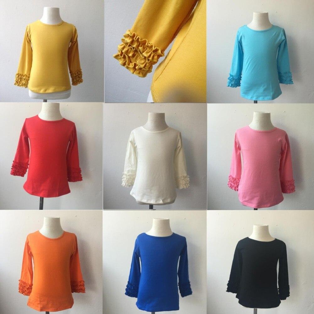 Buy 2015 Latest Kids Western Style Designer Cotton Sorban Long Black Shirt Baby Girl Ruffle Icing Sleeve Sleeves T