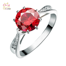 Red Ruby Crystal Fashion Titanium Plated CZ Diamond Jewelry Wedding Rings White Gold Plated Charming Jewellery Women Bijoux