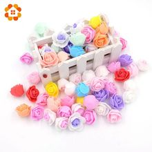 100PCS/Lot About 3CM Mini PE Foam Rose Artificial Flower Head For Wedding Decoration DIY Scrapbooking  Wreath Gift  Fake Flowers