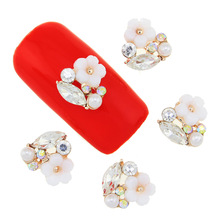 10 Pcs/Lot 3D Alloy Nail Art Tools Beauty Flower Design Pearl With Crystal Rhinestones Studs Supplies DIY Manicure Accessories