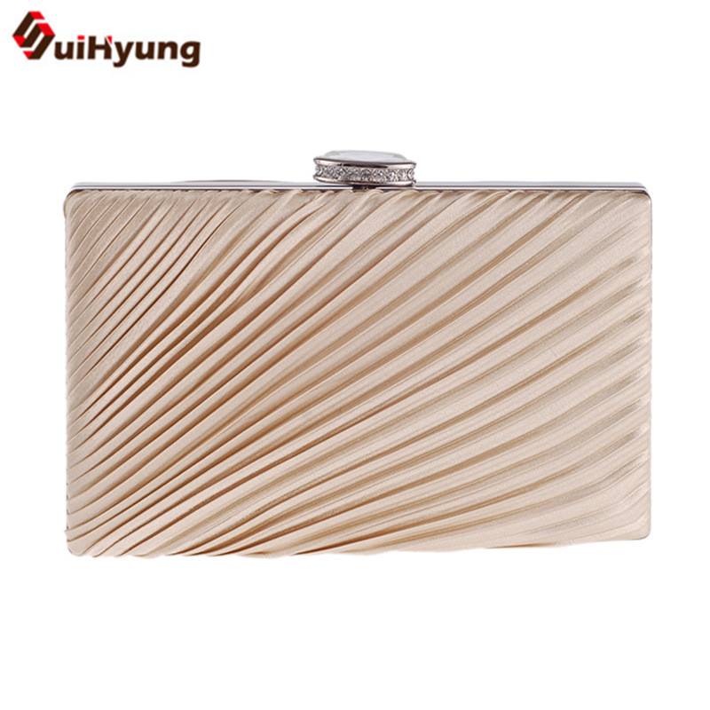 New Womens Diamond Clutch Simple Solid Color Folds Satin Evening Bag Girl Party Handbags Bridal Bridesmaid Chain Shoulder Bag<br><br>Aliexpress