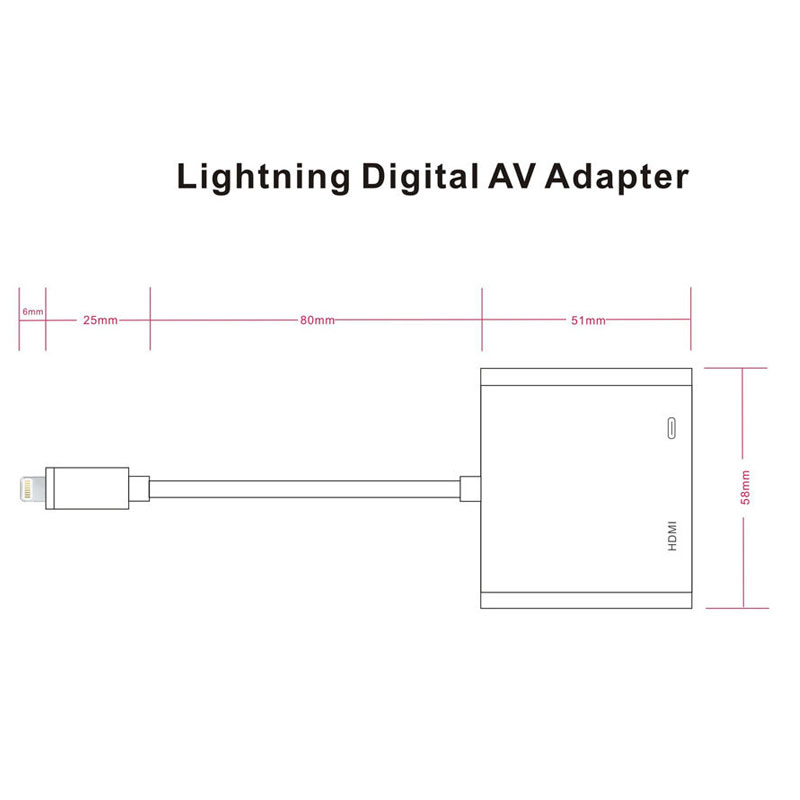 AHHROOU 1080P HDMI Cable For Lightning To AV HDMI / HDTV TV Digital Cable Adapter For iPhone X 8 For iPhone 7 Plus For iPad Mini 6