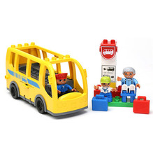 16pcs Big Yellow Bus City Bus Station Set Driver Grandpa Kids Big Building Blocks Baby Educational Toys Compatible with Duplo(China)