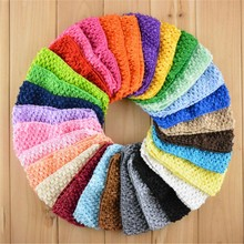 200pcs/lot 30 Color U Pick 2.75 Inch Elastic Crochet Waffle Headband Hair Accessories Wholesale Supply D03(China)