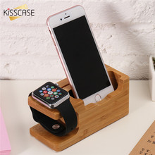 KISSCASE 100% Original Wooden Phone Holder For iPhone 7 6 6s Plus 5 5s SE Charging Dock Desktop Bracket For iWatch Stand Holder