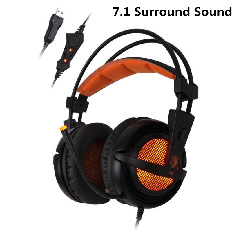 Desxz Sades A6 Gaming Headphones 7.1 Surround Sound Stereo Over Ear Game Headset with Mic LED Light for PC Gamer Computer earbud<br>