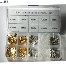 150PCS 6.3MM 2.8MM 4.8MM 4.0MM Mix 10 kinds Female Male Spade Connector copper terminals Splice Crimp Wire Terminal  #CGKCH078