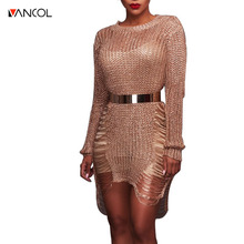 vancol 2017 new arrival o neck long sleeve dress silver mini party Bodycon Dress Gold Metallic hollow out knitted dress women(China)