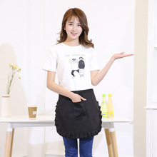 Women Kitchen Apron Black Lovely Bib Apron with Pockets Chef Cook Tool Pinafore Short Apron