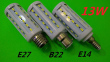NEW High Bright 13W LED lamps E27 B22 E14 44 LEDs 110V/220V/AC High Quality 5630/5730 SMD Corn LED Bulb Ceiling light 2pcs(China)
