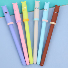 0.38mm Cute Kawaii Plastic Gel Pen Cartoon Bear Canetas For Kids Writing Gift School Supplies Free Shipping 3614(China)