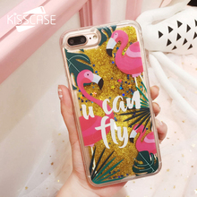 KISSCASE Flamingo Phone Case For iPhone 6 6s 7 Plus Cases Glitter Quicksand Bling Sequins Soft Cover For iPhone 7 7 Plus case(China)