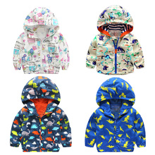 Baby Boys Girls Dinosaur Printed Jackets Cartoon Graffiti Outerwear Children's Hooded Clothes  Autumn New Kids Coats V49