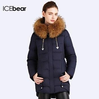 ICEbear 2016 Качественное пальто Меховым Воротником  Шикарный стилный дизайн куртки Верхняя одежда для женщин Меховой воротник из енота съемный Пуховик женский16G6106