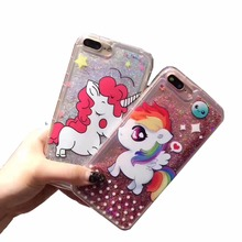 Cute Unicorn Quicksand Case Cover For iPhone 6 6s Plus Cases Luxury Animnal Bling Shell for iPhone 7 Plus Skin