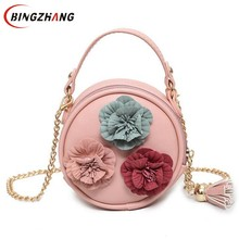 2017 Women Flowers Min Bag Ladies Round Handbag Chinese Style Small handbags Chain Women Crossbody Bags For Girls Kids L4-3031