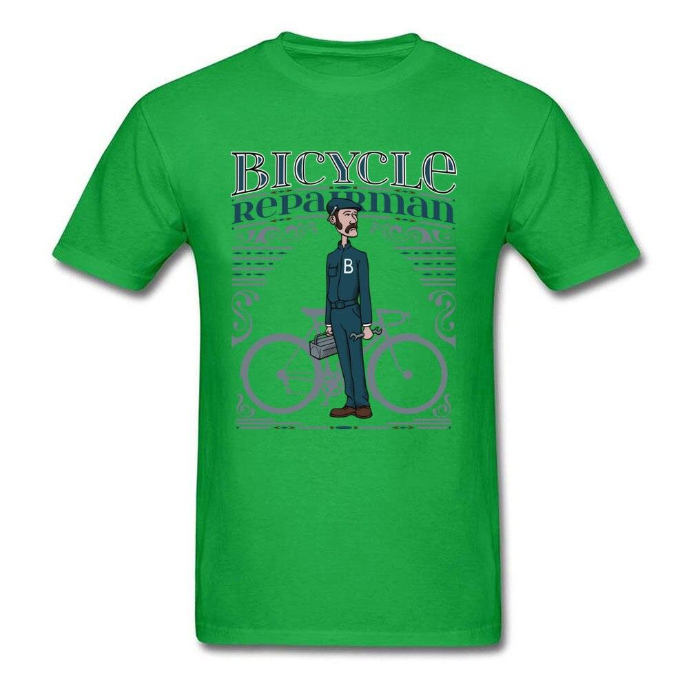 Bicycle Repairman T Shirts Custom Short Sleeve Cheap O-Neck 100% Cotton Tops Shirts Casual T Shirts for Men Mother Day Bicycle Repairman green